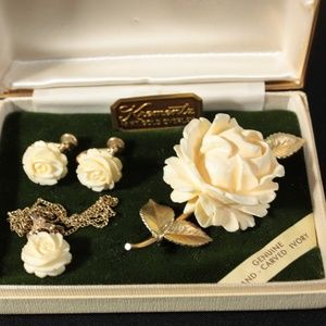 Krementz Jewerly Set Ivory 14k Overlay Rose